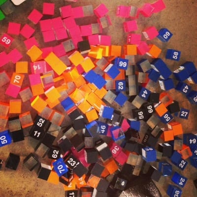 colourfull case object numbers scattered on the floor
