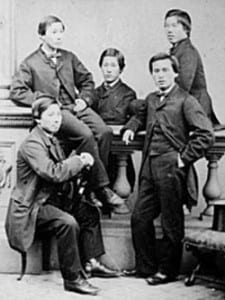 The five young men who made up the Choshu Five.