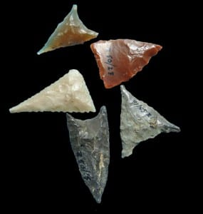 Pointy flint projectile points. handle with care.