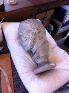 One of our phrenological heads being cleaned.