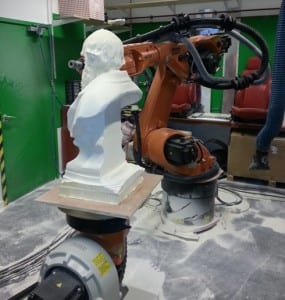 The milled Darwin bust with LaToyah the robot in the UCL Bartlett School of Architecture
