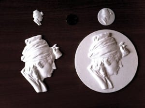 Mona's 3D printed objects of 'Mrs Flaxman' copied from the originals by J. Flaxman