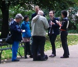 Kevin Guyan with his Bloomsbury tour in Russell Square