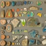 A colourful array of Amarna tiles. Petrie Museum of Egyptian Archaeology