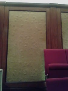 This embossed paper at the back of the Ri lecture theatre allows the speaker's voice to be reflected back into the room.