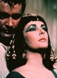 Elizabeth Taylor as Cleopatra in 1963 film. copyright 20th Century Fox, sourced www.imdb.com