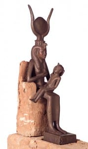 UC30476 Isis with child Horus. on display at the Petrie Museum of Egyptian Archaeology