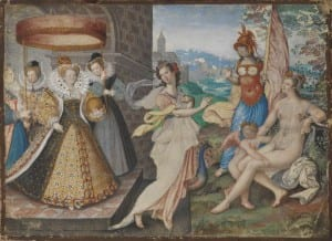 Queen Elizabeth depicting herself with Classical Gods, like Cleopatra and her Isis costumes. Queen Elizabeth I and Goddesses, attrib: I. Oliver, 1590. copyright National Portrait Gallery