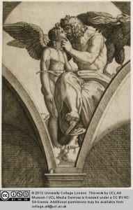 A rather intimate cupid and Jupiter by Raimondi. UCl Art Museum 1684