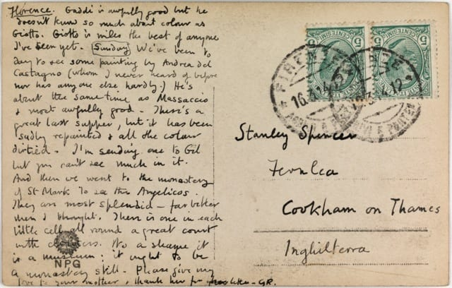 Reverse of G.R. (Gwen Raverat), Postcard to Stanley Spencer, 1914. UCL Art Museum. Not accessioned.