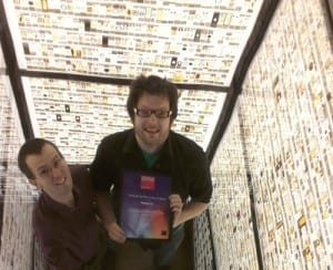 Jack and Mark in the Micrarium with the certificate