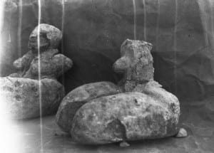 Photograph of two Predynastic Egyptian figurines excavated by Petrie's teams at Naqada 1894-1895. This negative is in the Petrie Museum archive, but the objects are now in the Ashmolean, Oxford.