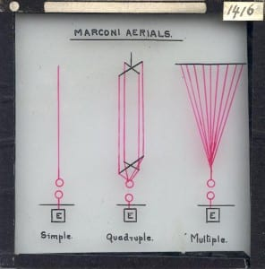 Scan of slide EE752, showing diagrams of monopole antennae.