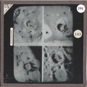 Grant Museum magic lantern slide LDUCZ 299 showing craters on the lunar surface