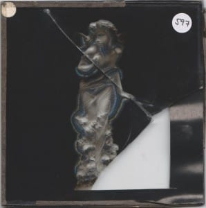 Grant Museum magic lantern slide LDUCZ 597 showing cracked glass and damage to the photographic layer between the glass plates