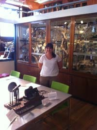 Jenni with the dog respirator in position in the Grant Museum.