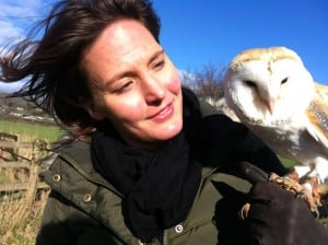 Helen Czerski on location with barn owl