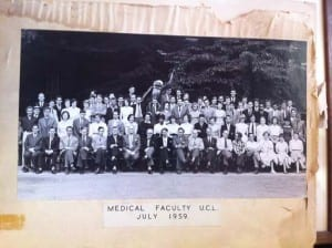 Medical Faculty UCL July 1959, with orang-utan.