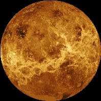 A radar image mosaic of Venus taken by the Magellan spacecraft.© NASA