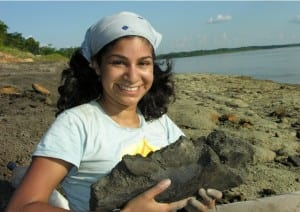 Dr. Anjali Goswami holding fossil remains