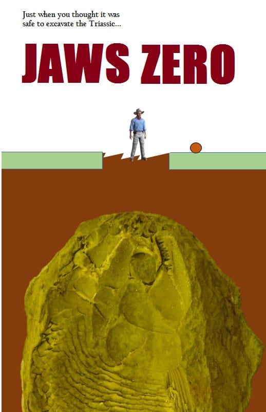 Concept image of the poster for Jaws zero by legendary artist and curator Mark Carnall