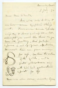 A letter from Flinders Petrie to Amelia Edwards offering her Egyptian material.