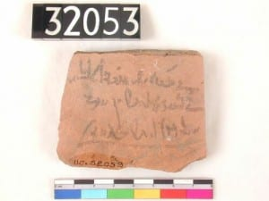 A pottery fragment with ancient Egyptian text written on it (UC32053). Sadly not ancient wisdom. Just a tax receipt from the late 1st millennium BC.