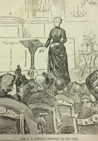 Amelia Edwards captivating audiences in New York in 1890 as published in 'The Daily Graphic'.