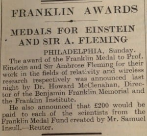 Newspaper clipping saved by Fleming giving details on the award of the Franklin medal. (Image provided by UCL Special Collections Library).