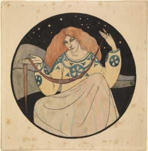 Knights, Winifred Margaret (1899-1947), Lady with Skein and Stars, Pen and ink and watercolour, 1916, UCL Art Museum Collection