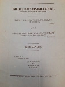 Cover of the legal memorandum from the Marconi Vs DeForest case. (Image provided by UCL Special Collections Library).