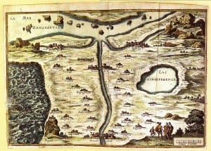 Carte du tendre or Map of Tenderness by François Chauveau obtained from commons.wikimedia.org and is permission free