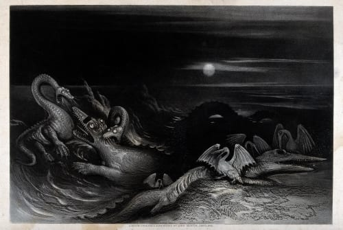 A nocturnal scene with saurians and sea-creatures fighting each other in the water. Mezzotint by J. Martin (1840)