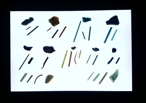 Armana glass rods on display in Glass Delusions at the Grant Museum of Zoology. 18th Dynasty, Amarna, UC22911 - UC22920