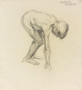 Percy Wyndham Lewis, Stooping Nude Child, 1900, Black Chalk, UCL 6003 (The Estate of Mrs G.A. Wyndham Lewis. By permission of the Wyndham Lewis Memorial Trust (a Registered Charity)