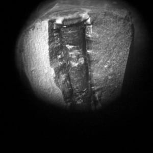 Tiny furnace containing the carbon sample, viewed through a microscope (c) Eleanor Morgan
