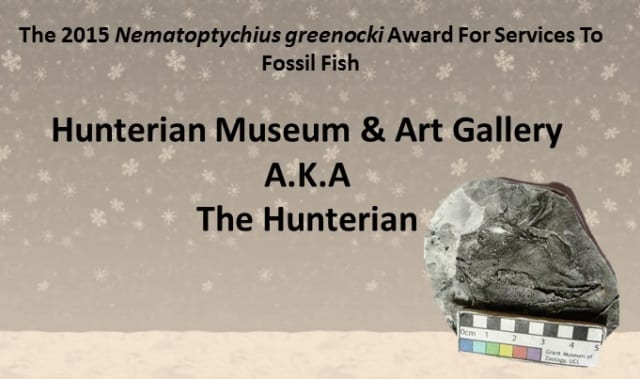 2015 Nematoptychius greenocki award for services to fossil fish