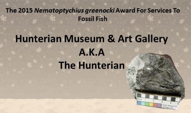 2015 Nematoptychius greenocki award for services to fossil fish