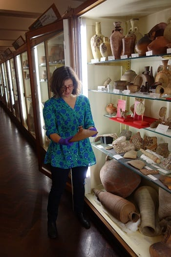 Pottery inspection at the Petrie Museum.