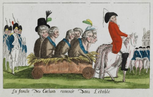 Anonymous La Famille des Cochons ramenée dans L'Etable (The Family of Pigs brought back to the Pigsty), 1791 Coloured etching, UCL Art Museum