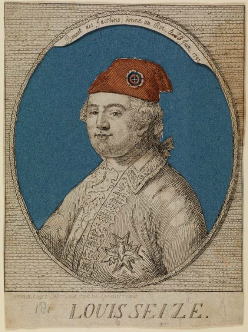 Noel Lemire (1724 – 1801), After Jean Michel Moreau (1741 – 1814), Louis Seize, 1792, Coloured etching, Inscribed: Bonnet des Jacobins donné au Roi 20 Juin 1792 (The Jacobin bonnet of liberty given to the King 20 June 1792); A Paris Chez L'Auteur Rue des Augustins, UCL Art Museum