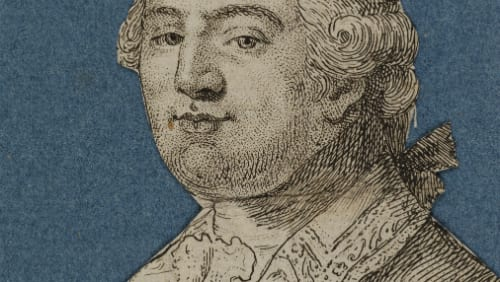 Detail of Noel Lemire (1724 – 1801), After Jean Michel Moreau (1741 – 1814), Louis Seize, 1792, Coloured etching, Inscribed: Bonnet des Jacobins donné au Roi 20 Juin 1792 (The Jacobin bonnet of liberty given to the King 20 June 1792); A Paris Chez L'Auteur Rue des Augustins, UCL Art Museum