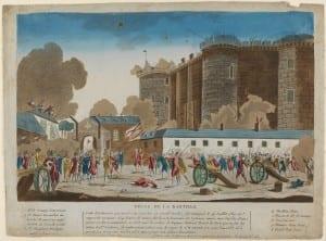 Anonymous, Prise de la Bastille (Taking of the Bastille), 1789-90, Coloured etching