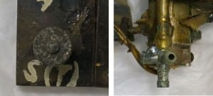 Figure 5 shows a locally corroded screw and metal tube. The colour of corrosion products is greenish and circular in shape. Figure 5. Left: one of corroded screws on the long rectangular piece, Right: corroded metal tube