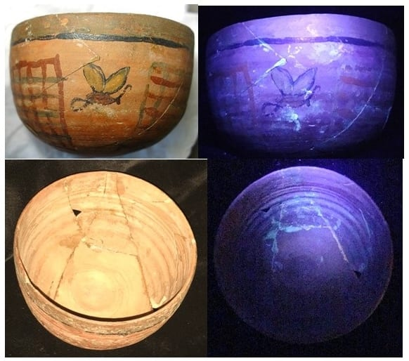 Images of the bowl in visible light on the left, and long-wave, ultraviolet light on the right.