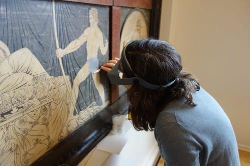 Susi Pancaldo removing paint from 'Marmor Homericum'