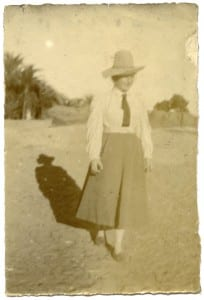 """The best length for a skirt in Egypt!!"" Beatrice Orme in Egypt in the early years of the 20th century. Petrie Museum archives."
