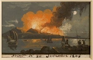 Gouache from the Johnston-Lavis Art Collection, showing Vesuvious erupt in 1805.