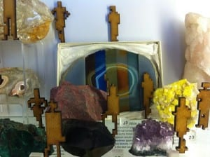 Slade - art works in the mineral display.