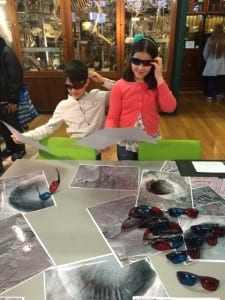 Visitors trying out 3D images of Mars.
